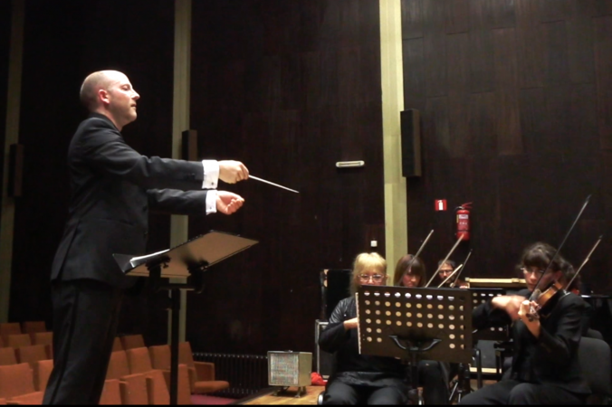 Tim Ribchester conducting in Vidin, Bulgaria in October. (Courtesy of Tim Ribchester)