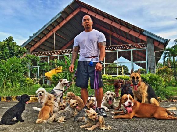 Jerry Lakandula with his dogs. (Courtesy of Jerry Lakandula)