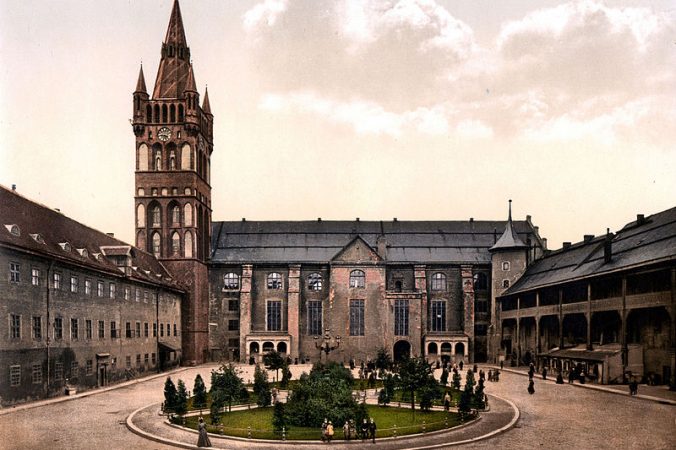 Königsberg Castle courtyard and church of the castle and the criminal tribunal, Kaliningrad, Russia. (Library of Congress)