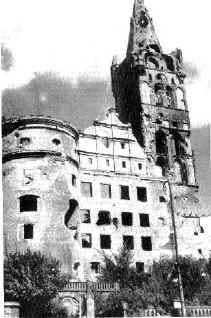 The state of Königsberg Castle in 1945, after the conclusion of World War II. (Public Domain)