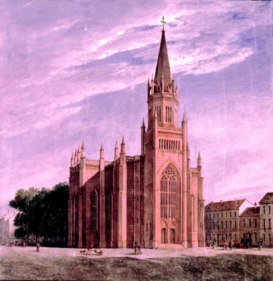 An 1840 drawing of the Altstadtkirche in Königsberg. The artist is Karl Friedrich Schinkel, who designed the church. (Kupferstichkabinett, Staatliche Museen zu Berlin/Public Domain)