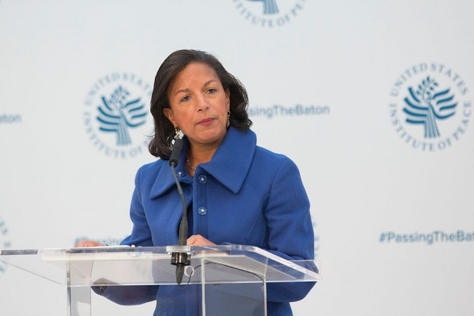 Ambassador Susan Rice, National Security Advisor speaks during a conference on the transition of the US Presidency from Barack Obama to Donald Trump at the US Institute Of Peace in Washington on Jan. 10, 2017. (CHRIS KLEPONIS/AFP/Getty Images)