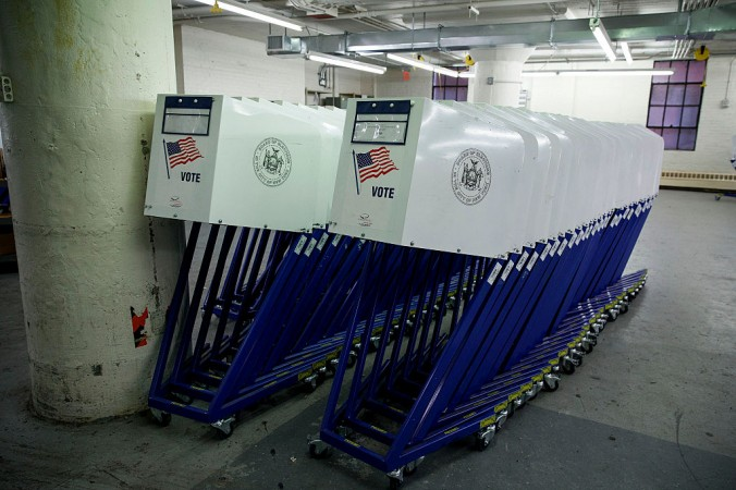 Voting booths sit at a New York City Board of Elections voting machine facility warehouse in the Bronx borough in New York City on Nov. 3, 2016. (Drew Angerer/Getty Images)