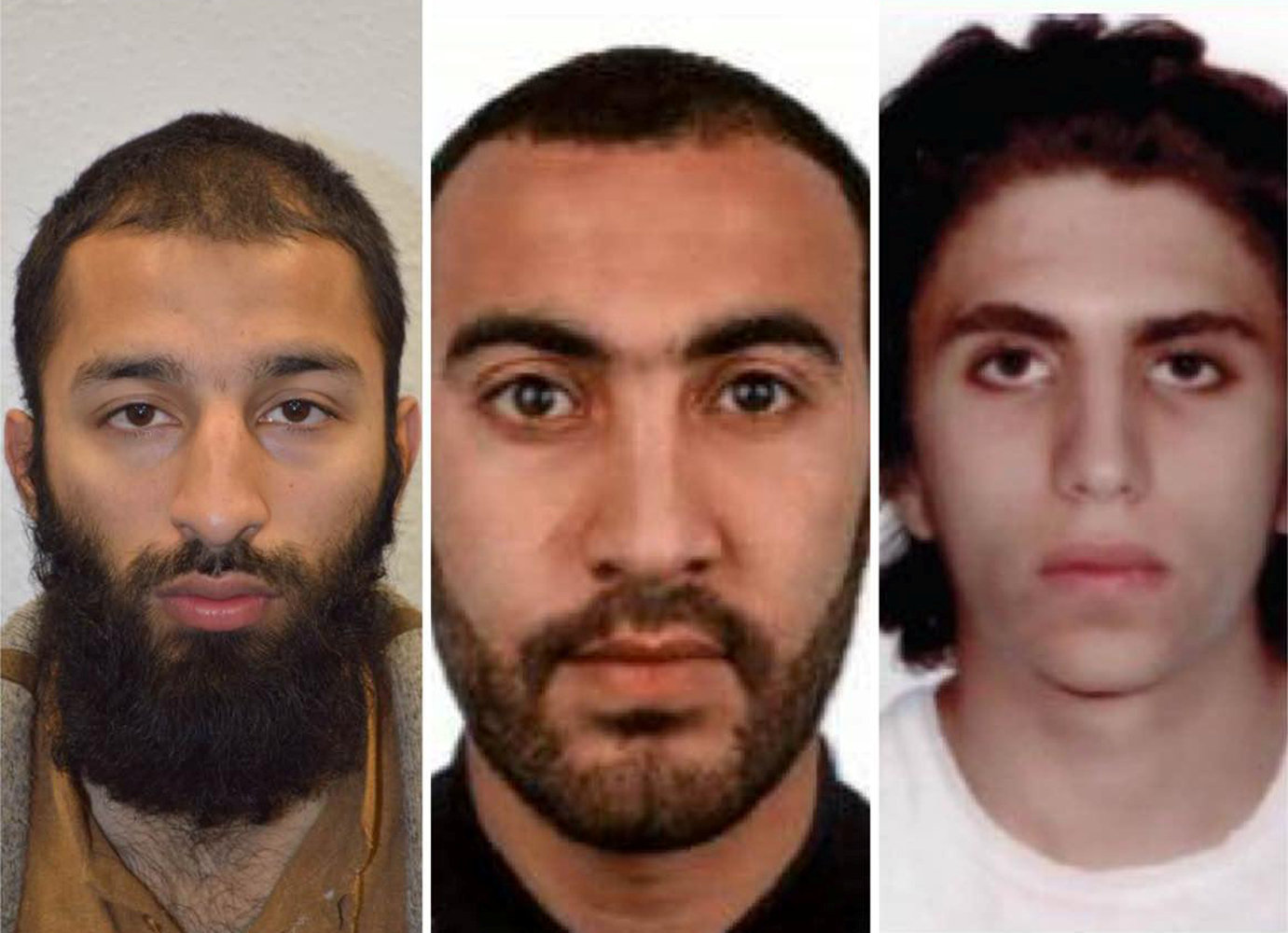 (L-R) Khuram Shazad Butt, Rachid Redouane, Youssef Zaghba in an undated image handed out by the Metropolitan Police on June 6, 2017. (Metropolitan Police Handout via REUTERS)