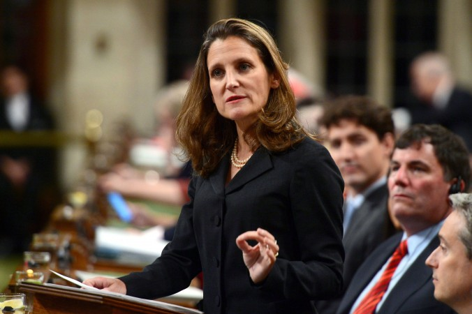 Minister of Foreign Affairs Chrystia Freeland delivers a speech in the House of Commons on Canada's new foreign policy on June 6, 2017. (The Canadian Press/Sean Kilpatrick)