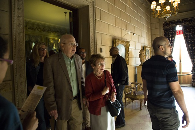 People enjoy the First Fridays event at The Frick Collection in New York City on June 2, 2017. (Samira Bouaou/The Epoch Times)