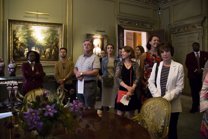 People listen to Vincent Tolentino, education essistant, give a  talk at the First Fridays event at The Frick Collection in New York City on June 2, 2017. (Samira Bouaou/The Epoch Times)