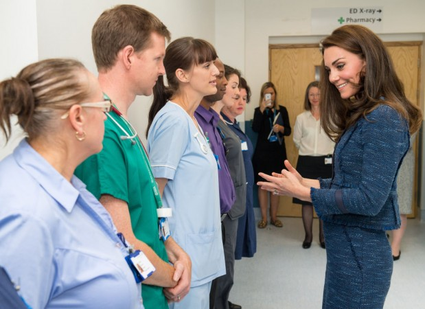 The Duchess of Cambridge meets hospital staff during a visit to Kings College Hospital in south London where she met staff and patients who were affected by the terrorist attacks in London Bridge and Borough Market, on June 12, 2017 in London, England.  (Photo by Dominic Lipinski - WPA Pool / Getty Images)