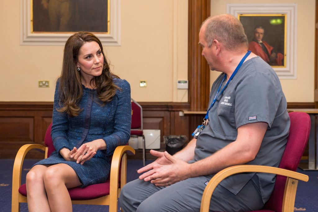 Britain's Catherine, Duchess of Cambridge (L), speaks to Clinical Director and Consultant in Emergency Medicine Dr Malcolm Tunnicliff as she visits Kings College Hospital to meet staff and patients affected by the terrorist attacks at London Bridge and Borough Market on June 3, in south London on June 12, 2017. / AFP PHOTO / POOL / Dominic Lipinski        (Photo credit should read DOMINIC LIPINSKI/AFP/Getty Images)
