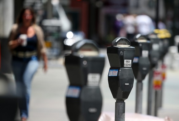 A row of parking meters line O'Farrell Street on July 3, 2013 in San Francisco, California. (Justin Sullivan/Getty Images)
