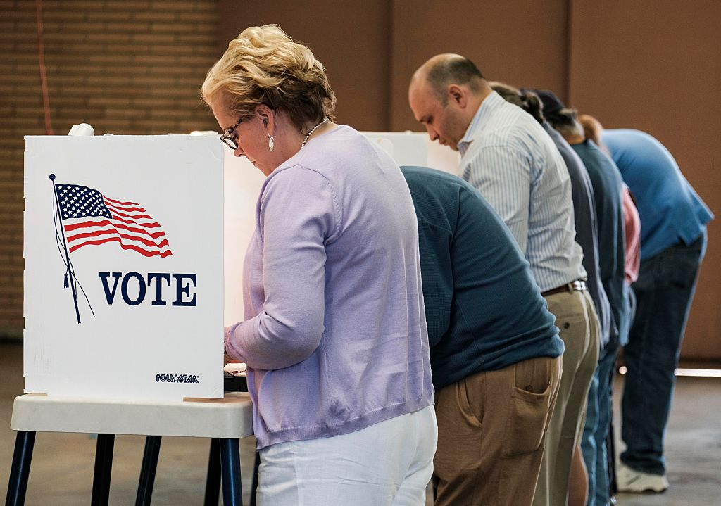 Voters Cast Their Ballots In The Us Presidential Election At A Fire Station In Alhambra