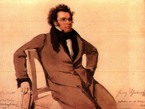 Composer Franz Schubert in a watercolor by Wilhelm August Rieder. Schubert's song cycle