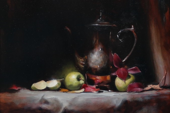 """""""Green Apples, """"2016, by George Ceffalio,. Oil on wood panel, 12 inches by 16 inches. (Courtesy of George Ceffalio)"""