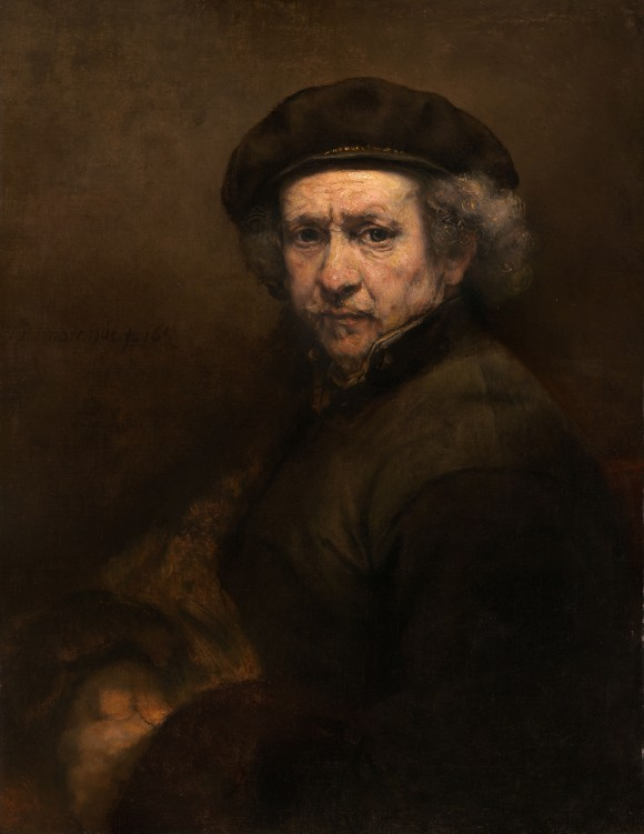 Self-Portrait by Rembrandt van Rijn. Oil on canvas, 33 1/4 inches by 26 inches, Andrew W. Mellon Collection. (Public domain)