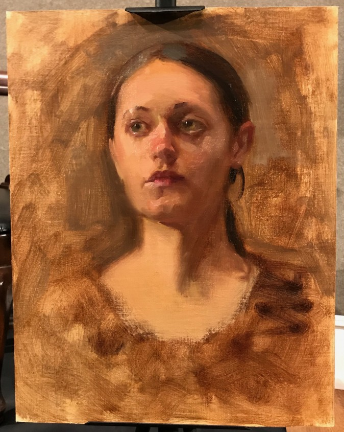Oil painting sketch by Richard Piloco, the first prize winner of the Oil Portrait Sketching Competition at the Salmagundi Club in New York, Aug. 26, 2017. (Milene Fernandez/The Epoch Times)