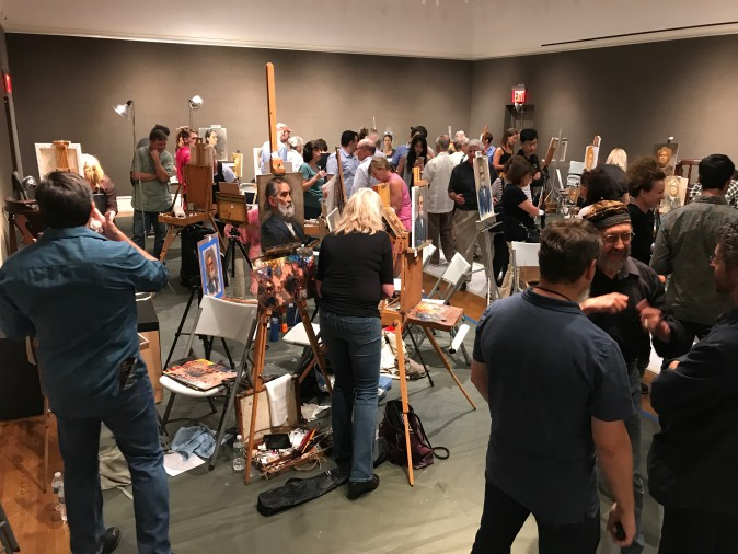 Artists wrap up at the end of the Oil Painting Sketch Competition of the Salmagundi Club in New York on Aug. 26, 2017. (Milene Fernandez/The Epoch Times)