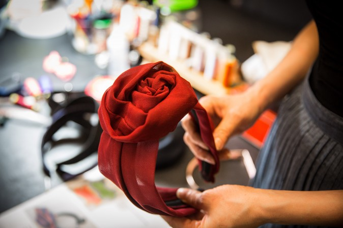 A finished headband at the Jennifer Ouellette studio. (Benjamin Chasteen/The Epoch Times)