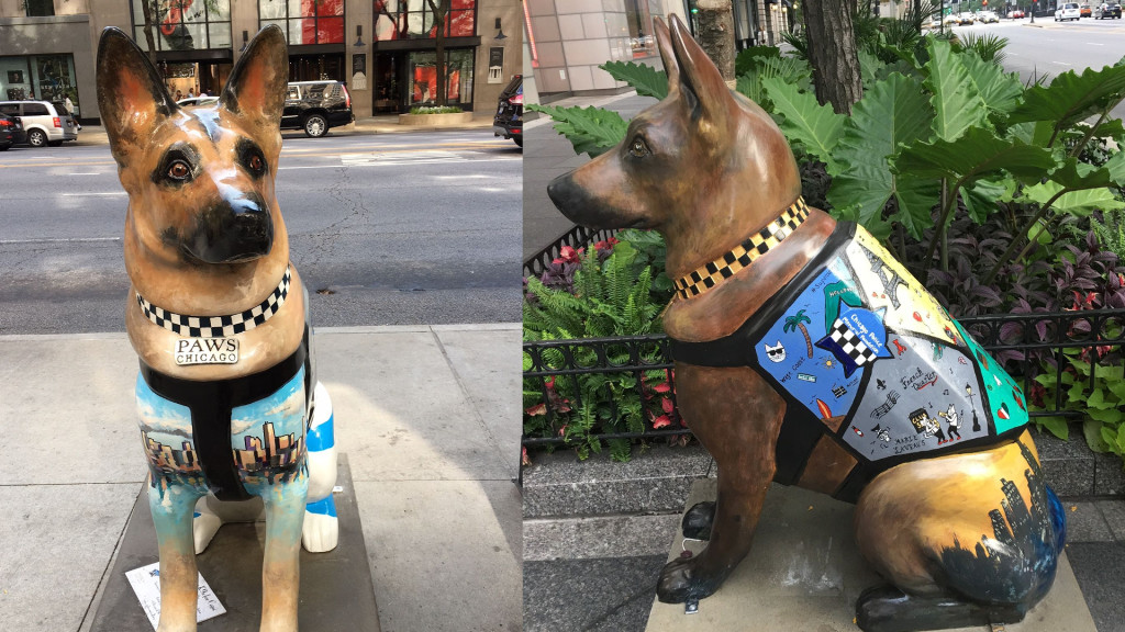 'K9s for Cops' is a public art campaign raising money for families of Chicago police officers killed or injured in the line of duty. (Image: Monica Song / Vision Times)