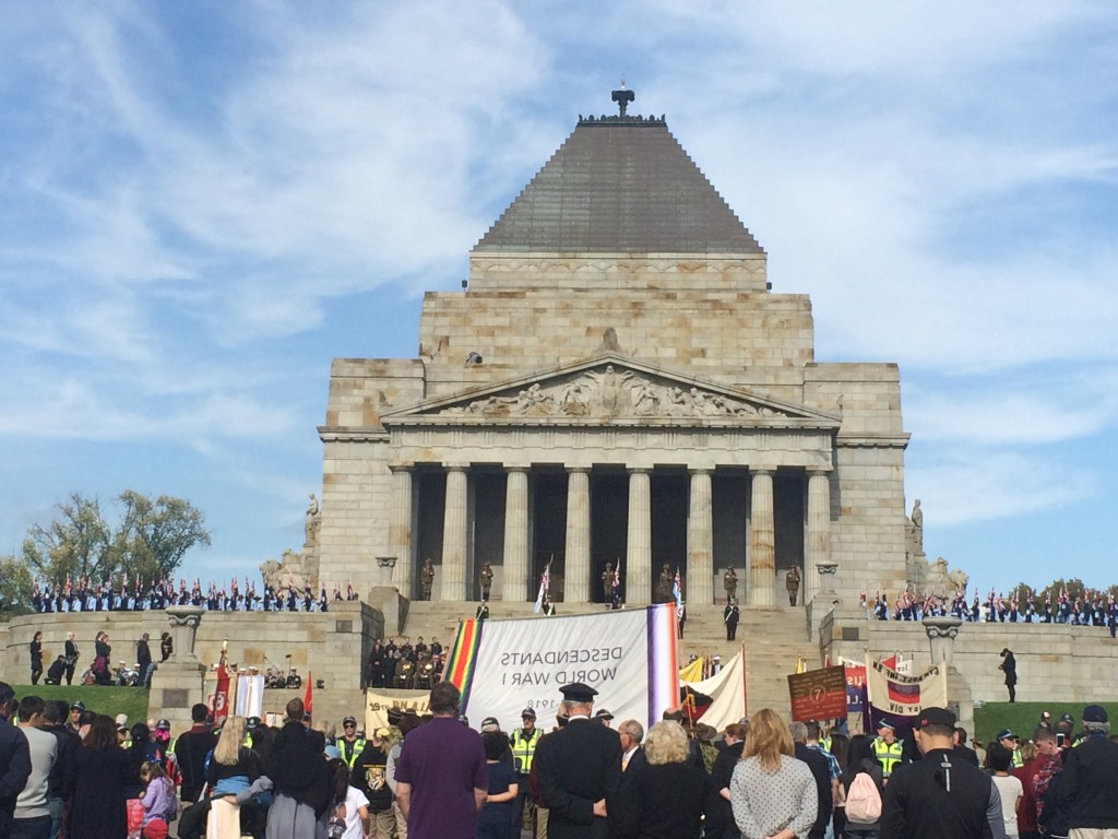 The Shrine of Remembrance in Melbourne on Anzac Day. (Image: Trisha Haddock)