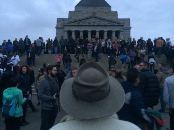 Photo by Trisha Haddock. Anzac Day Dawn Service at the Shrine of Remembrance.