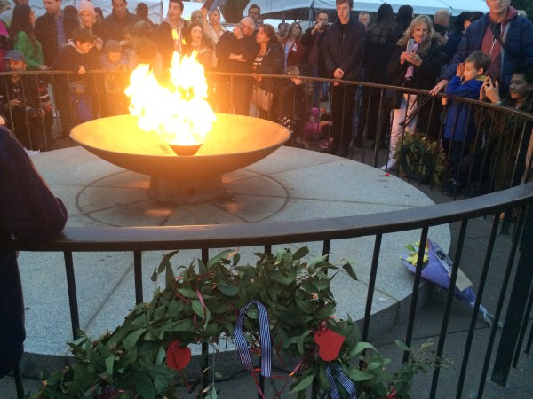 Photo by Trisha Haddock. Cauldron lit at the Shrine of Remembrance in Melbourne on Anzac Day.