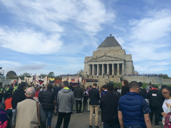 Photo by Trisha Haddock. The Shrine of Remembrance in the afternoon on Anzac Day.