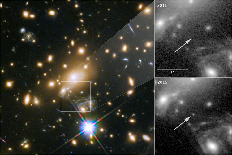 Thanks to a rare cosmic alignment, astronomers have captured the most distant normal star ever observed, some 9 billion light years from Earth. (Image: NASA, ESA, and P. Kelly (University of Minnesota))