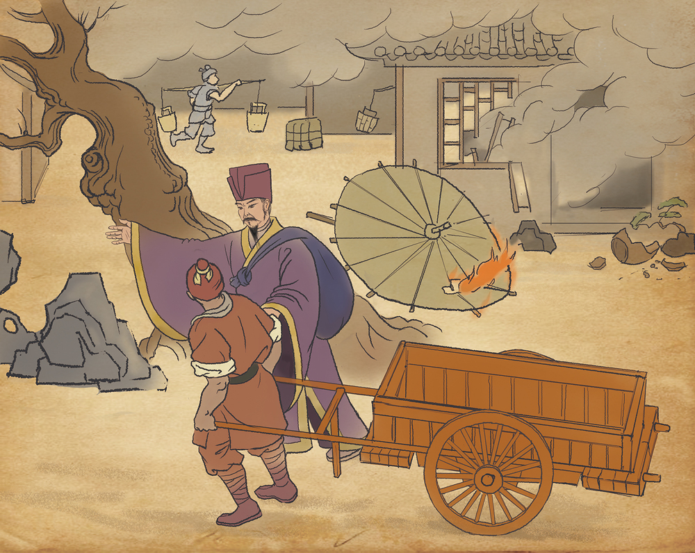 When fire ravaged a village one day during the Song Dynasty, Pei, a Chinese shopkeeper who followed Confucian principles, let his own shop burn. Instead of saving it, he left straight away and bought building materials from a nearby town, supplies that his neighbours would need as soon as possible. He was heartily welcomed when he returned, and profit boomeranged back to him, even though his only thought was for others.