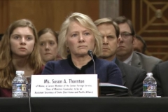 Susan Thornton (middle), the acting assistant secretary for East Asian and Pacific affairs at the U.S. State Department, testified in her nomination hearing on Feb. 14 at the Dirksen Senate Office Building. (Screenshot via Senate hearing video)