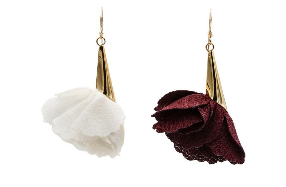 Chiffon Rose Earrings, $ 35.00