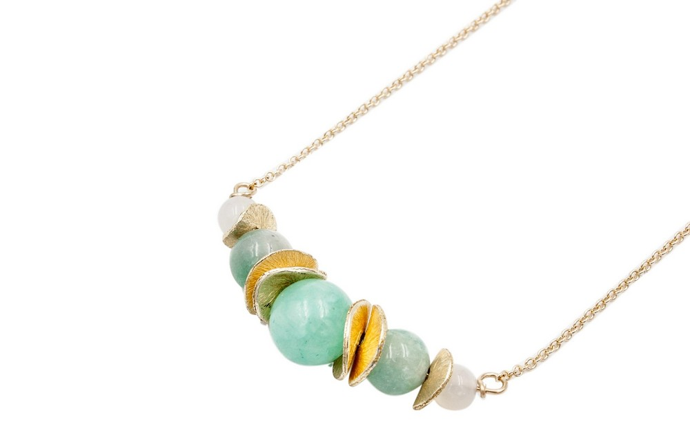 Chinese Gold and Green Jade Necklace, $ 50.00