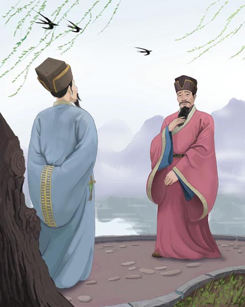 Yan Shu (right) encountered Wang Qi while traveling to Hangzhou to assume office.
